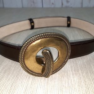 Accessories - Brown Genuine Leather Belt/ Gold Copper Buckle